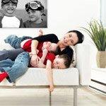 moeder met kinderen foto op canvas pers