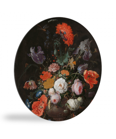 Stilleven met bloemen en een horloge - Schilderij van Abraham Mignon wandcirkel