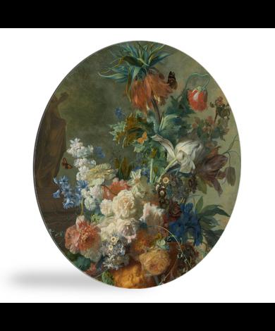 Stilleven met bloemen - Schilderij van Jan van Huysum wandcirkel