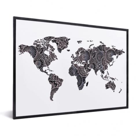 Aziatische print zwart-roze in lijst