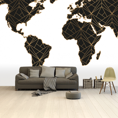 Geometrisch zwart-goud behang