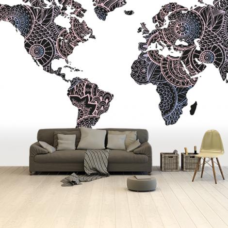 Aziatische print zwart-roze behang