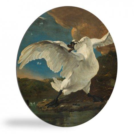 De bedreigde zwaan - Schilderij van Jan Asselijn wandcirkel