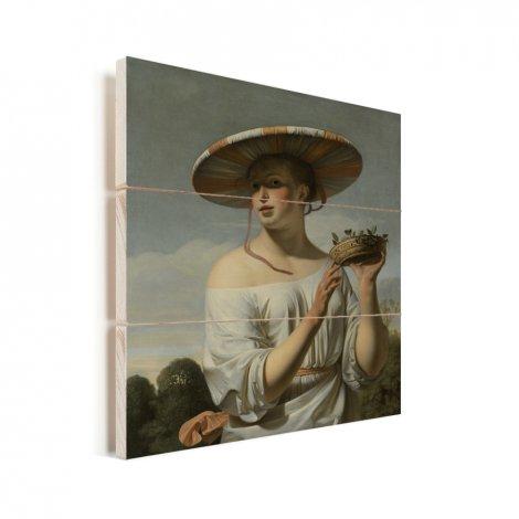 Meisje met een brede hoed - Schilderij van Caesar Boetius van Everdingen Vurenhout met planken
