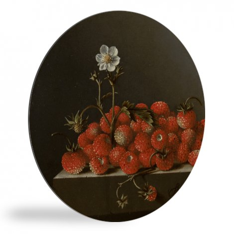 Stilleven met bosaardbeien - Schilderij van Adriaen Coorte wandcirkel