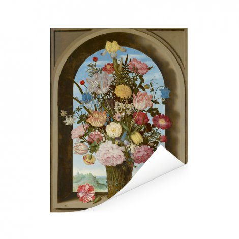 Vaas met bloemen in een venster - Schilderij van Ambrosius Bosschaert de Oude Poster
