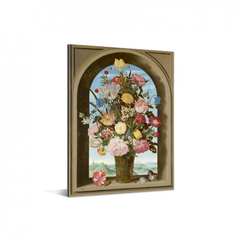 Vaas met bloemen in een venster - Schilderij van Ambrosius Bosschaert de Oude Aluminium