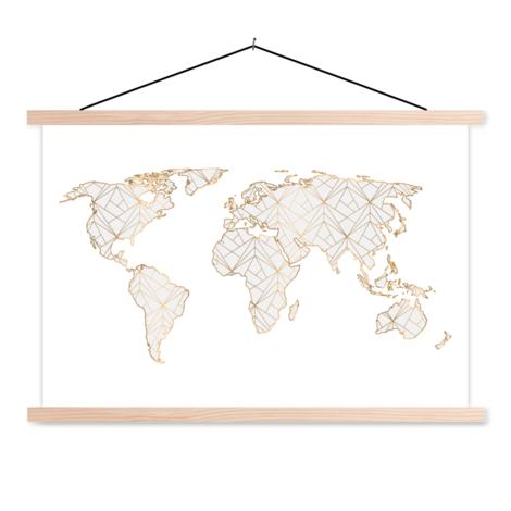 Geometrisch goud-lichtgrijs textielposter