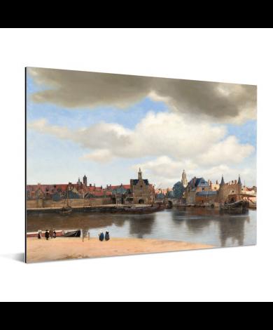 Gezicht op Delft - Schilderij van Johannes Vermeer Aluminium
