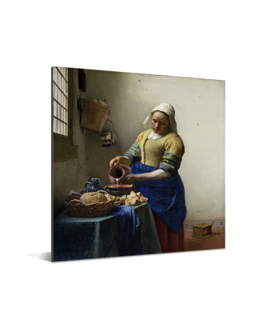Het melkmeisje - Schilderij van Johannes Vermeer Aluminium