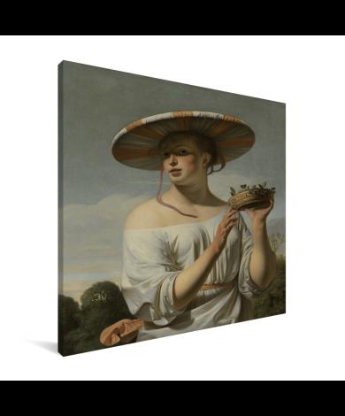 Meisje met een brede hoed - Schilderij van Caesar Boetius van Everdingen Canvas