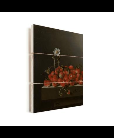 Stilleven met bosaardbeien - Schilderij van Adriaen Coorte Vurenhout met planken