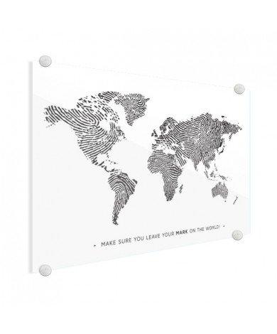 Vingerafdruk - zwart wit met tekst plexiglas