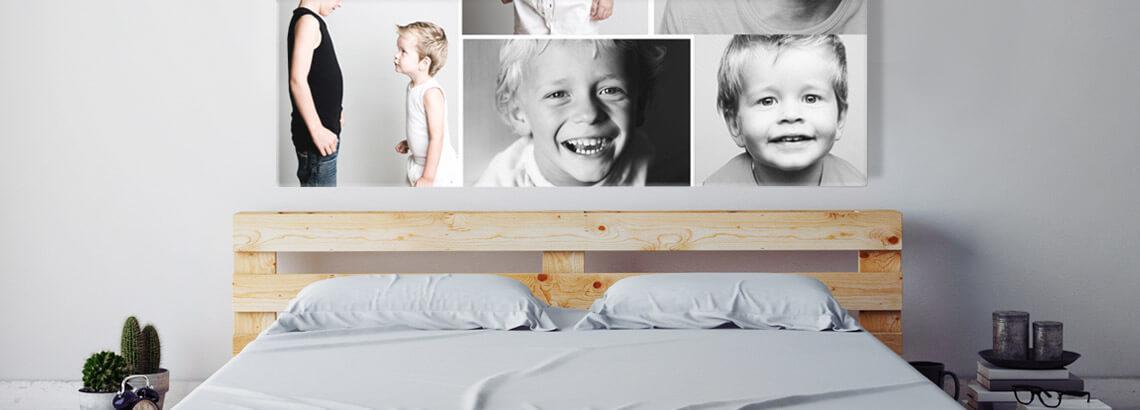 Fotocollage op canvas broers in interieur