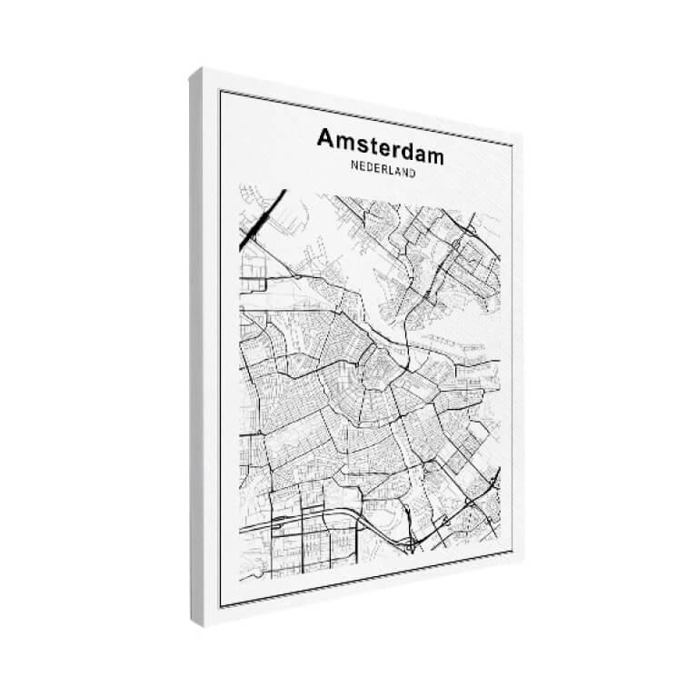 Stadskaart op canvas zwart wit