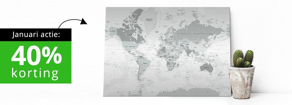 Maandaanbieding januari - 40% korting op wereldkaart grijstinten