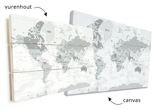 wereldkaart op vurenhout of canvas