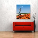 rode bank foto op canvas pers