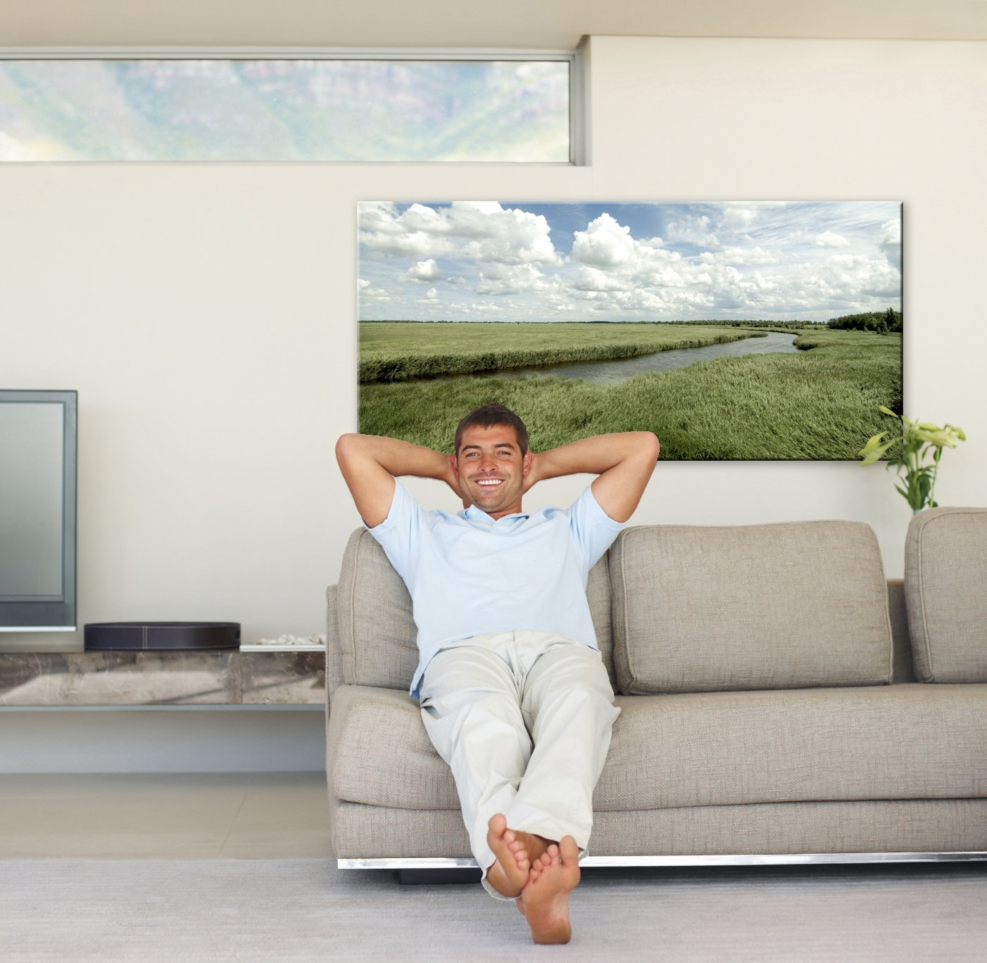 man kamer foto op canvas pers