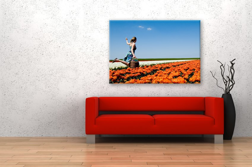 rode bank foto op canvas pers